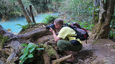 Here I am assuming the position at the Kuang Si waterfalls near Luang Prabang, Laos.