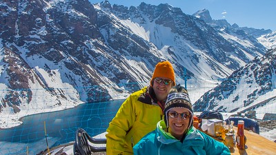 Linda and I enjoying lunch during a break in the skiing at Portillo, Chile.