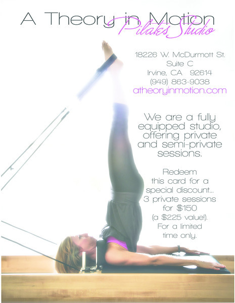 Promotion piece: A Theory in Motion Pilates Studio (back) (Design/Photography by Laura Schmidt Photography)