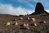 Lava Tower campsite, at 15,200' on the slopes of Mount Kilimanjaro.