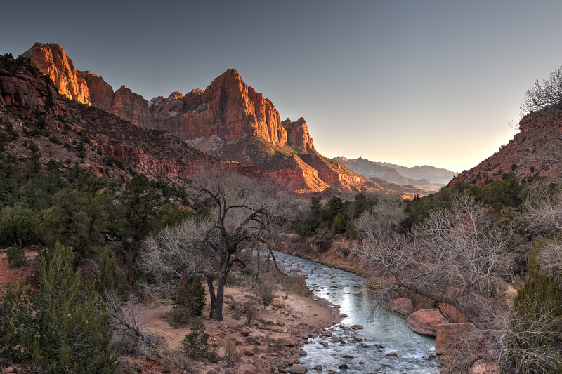 The Watchman as viewed from the bridge at Canyon Crossing - Zion National Park, Utah.