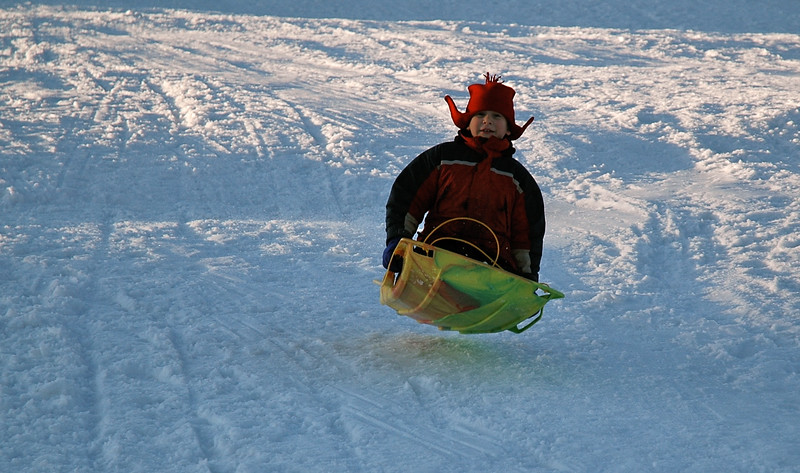 Andy catches some air!sledding at Occum Pond.
