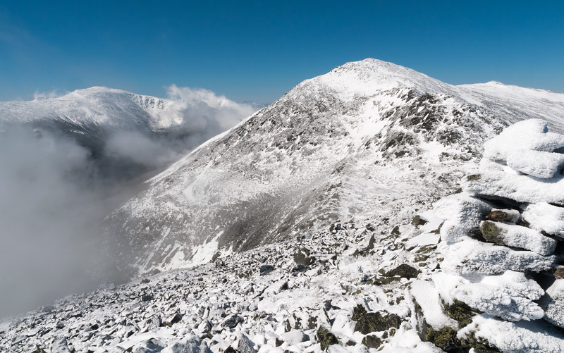 On the summit of Mount Madison with Mount Washington (left) and Mount Adams (center), NH.