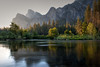 Sunrise view of Bridalveil Falls, from the Valley View point along the Merced River. Yosemite National Park, CA.