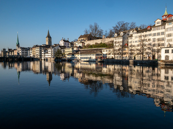 A pretty morning view across the Limmat river toward old Zurich.