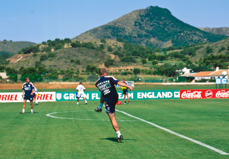 Alan Shearer training with the England World Cup Squad at La Manga Club Football Centre, 25th May 1998