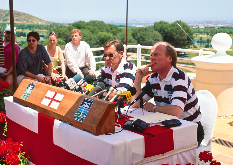 Glen Hoddle and David Davies of the Football Association announcing the England final selection for the 1998 World Cup infront of the world's media overlooking the 18th green on La Manga Club's famous South Course, 1st June 1998