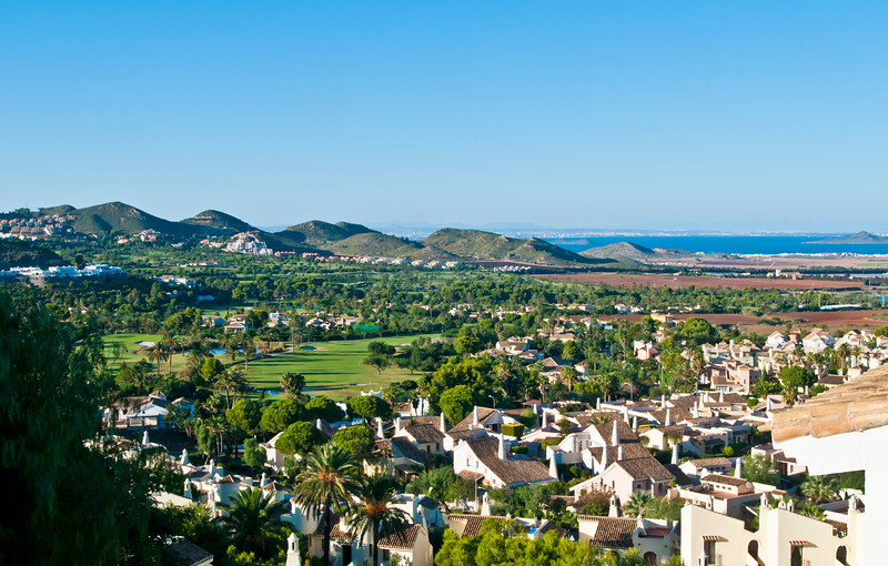 View over Las Higueras and La Manga Club's South Course to the Mar Menor and San Javier