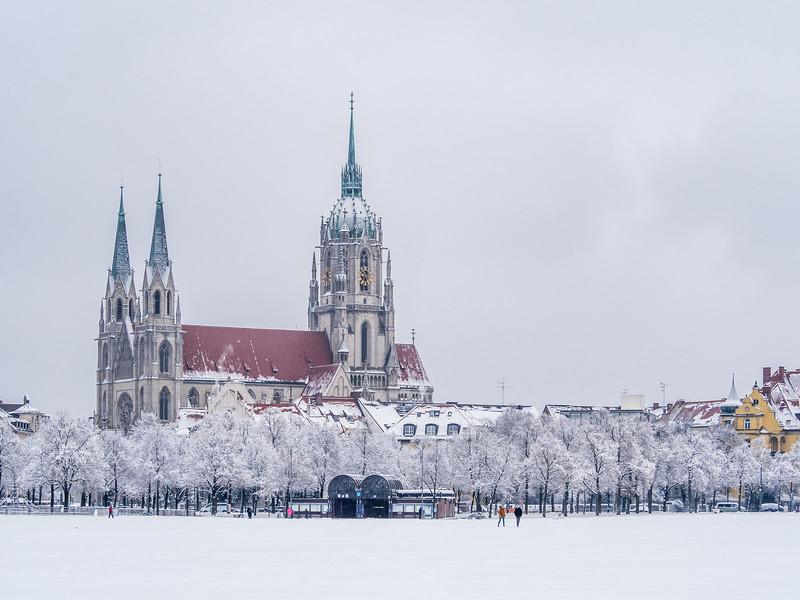Winter on St. Paulskirche, Munich, Germany
