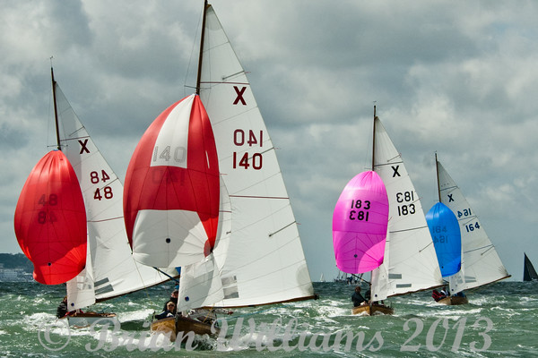 Cowes week 2013, day 1,  XOD fleet competing for line honours.