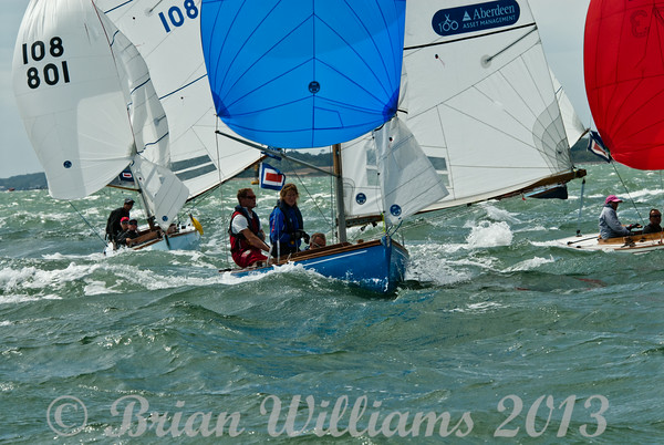 """cowes week 2013,  XOD one design x144 """"La Mouette"""" , x173 """"Heyday"""" x108 """"Leading Wind"""" taking part in racing on day 8."""