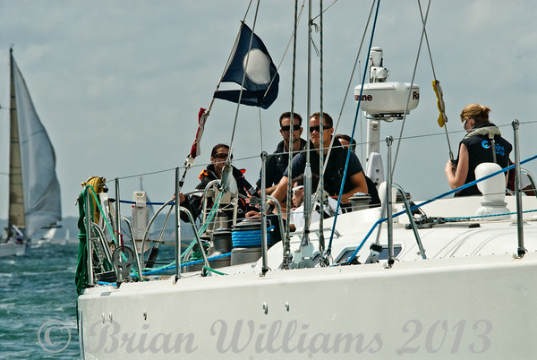 Cowes week 2013, day 1,  Coming home at the end of the race.