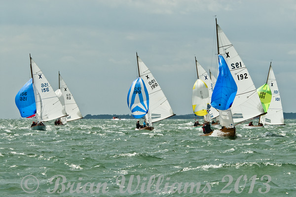 """cowes week 2013,  XOD one design x156 """"Gleam"""" , x52 """"Anitra"""" , x192 """"Felix"""" taking part in racing on day 8."""
