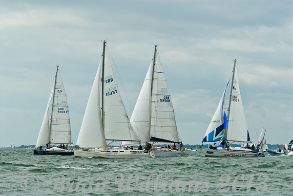 Four yachts competing in the cruiser class div A on day 8 Cowes Week 2013