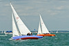 "Seaview mermaid u12 ""Amethyst"" skippered by Charles Glanville and u6 ""Rosemary"" skippered by Richard Prest taking part in racing on day 8 Cowes week 2013"