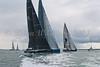 """GBR 1682R """"Tokoloshe II"""" and MON 888 """"Cape Fling II"""" NED 46 """"Tonnerre de Breskens"""" at start of racing AAM Cowes \Week 2014"""