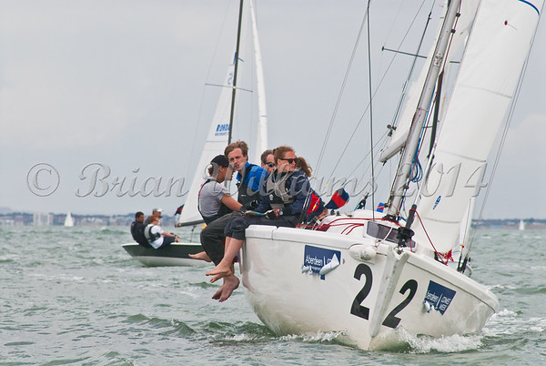 "Sprotsboat Class, fleet at the start of racing, GBR2442L ""Royal 2"" AAM Cowes Week 2014"