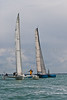 """Multihulls GBR 137 """"Humdinger"""" and 714M """"Buzz"""" at start line AAM Cowes Week 2014"""