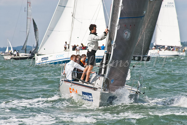 """Quarter Ton GBR501 """"Illegal Immigrant"""" racing  at AAM Cowes Week 2014"""