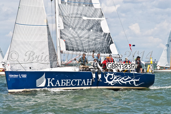 """GBR 9383R """"Capstan Intuition"""" racing at AAM Cowes Week 2014"""