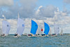 Etchells race start Royal Yacht Squadron line, Cowes Week 2014