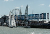 """Etschells; GBR1271 """"Ziggy7"""", GBR1020 """"Sumo"""" and IRC 4; FRA35080 """"Dunkerque-les Dunes de flandre heading out to start line on day one of Cowes Week 2016."""