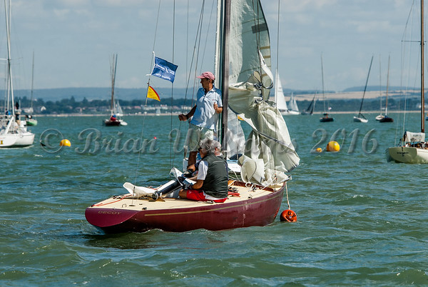 "Daring number 7 ""Decoy"" and crew preparing for Cowes Week."