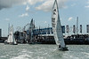 """Etschells; GBR1437 """"Exabyte 7"""" and GBR1020 """"Sumo"""" heading out to start line on day one of Cowes Week 2016."""