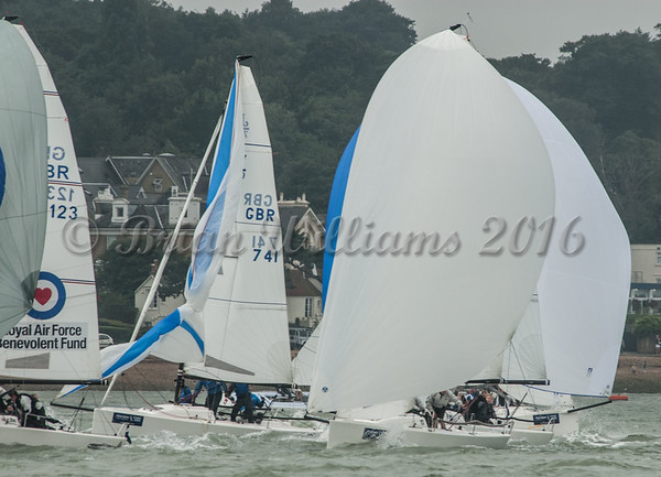 J/70; GBR741 COSMIC, GBR123 RAF TEAM racing at Cowes Week 2016 day 1