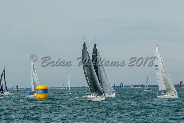 J/80 class yachts the the RYS start line Lendy Cowes Week 2018 day 1