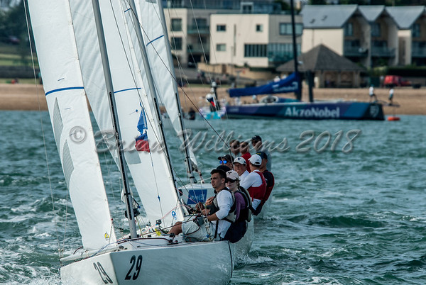 """The start of the """"Etchells"""" race, RYS start line, Lendy Cowes Week 2018 Day 1"""