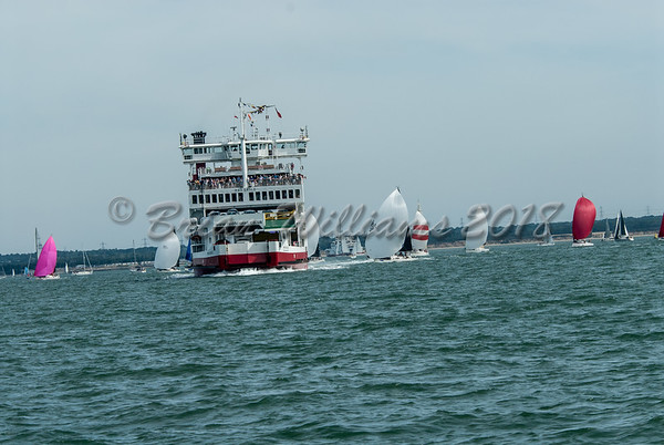 Red Funel Red Eagle sailing through IRC 5 course, Lendy Cowes Week 2018 Day 1