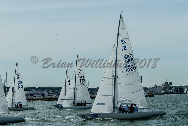 "The start of the ""Etchells"" race, RYS start line, Lendy Cowes Week 2018 Day 1"