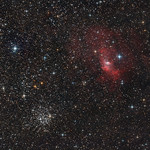 DATUM: 10-Oktober-2012 | LOCATIE: Hoogeveen, NL | TELESCOOP: TS 254mm F/2.9 Carbon Imaging Newton (met ASA 2KORRR) | MONTERING: SkyWatcher HEQ6 Pro met EQMod en Meade Telescope Drive Master | AUTOGUIDER: OAG + Lodestar, PHD | CAMERA: (Zelf) Gemodificeerde Canon 40D | IMAGESCALE: 1,57 arcsec / pixel | BELICHTING: 40 x 240 sec. (160 min.) | ISO: 400 | ACCESSOIRES: ASA corrector / reducer 2KORRR | OPMERKINGEN: