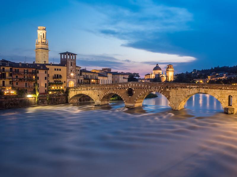 Nightfall on the Ponte Pietra, Verona, Italy
