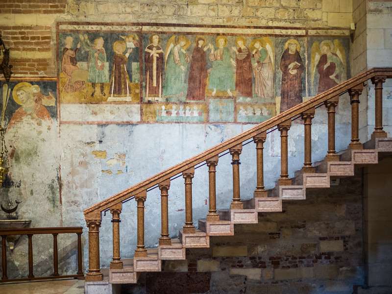 Fading Frescos and Stairway, San Zeno Basilica, Verona, Italy