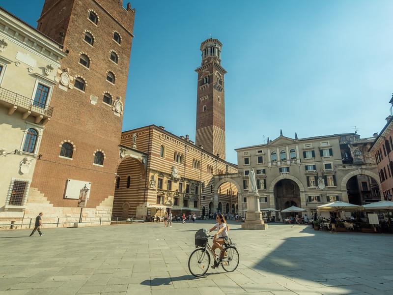 Cyclist on Piazza dei Signori, Verona, Italy