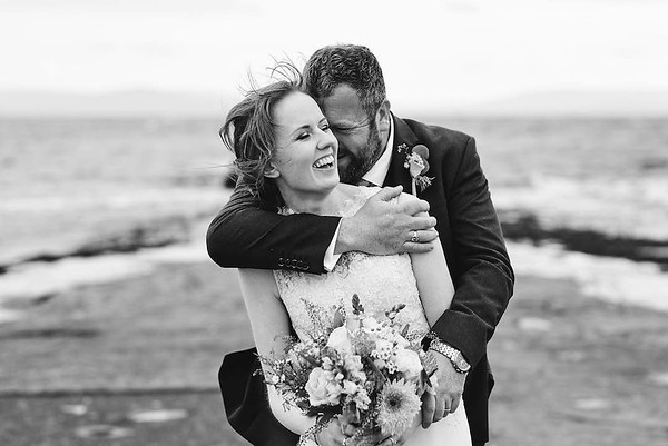Wedding couple outside Salthill Galway