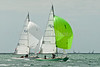 """Seaview mermaid u3 """"Halluf"""" skippered by Tom Holbrook and u1 """"Scuttle"""" skippered by Kate Broxham taking part in racing on day 8 Cowes week 2013"""