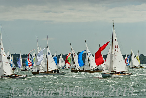 """Cowes week 2013,  XOD one design x32 """"Ibex"""" with skipper Paul Woodman, x87 """"Excalibur"""" with skipper Adrian Summers and x48 """"XL"""" with skipper Rory Paton taking part in racing on day 8."""