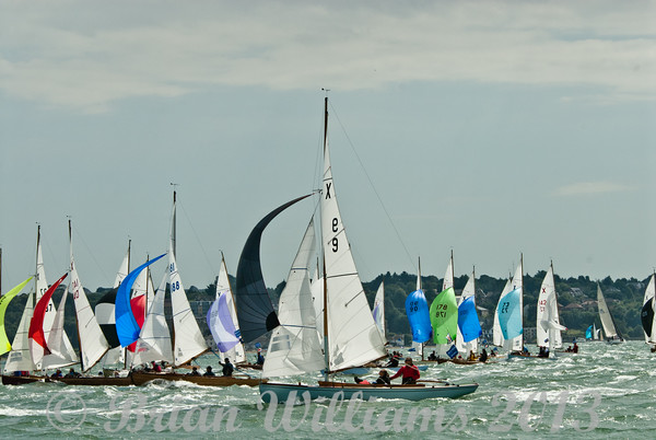 """Cowes week 2013,  XOD one design x9 """"Zest"""" with skipper Phil Brewer, x87 """"Excalibur"""" with skipper Adrian Summers and x48 """"XL"""" with skipper Rory Paton taking part in racing on day 8."""