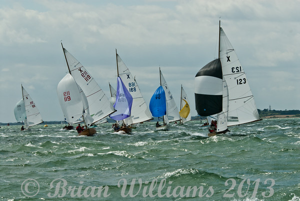"""cowes week 2013,  XOD one design x123 """"Lara"""" , x119 """"Lone Star"""" taking part in racing on day 8."""