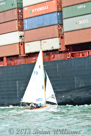 Conflict of interests; close encounters of the large kind; Cowes Week 2013 day 8, part of the   XOD course is from east bay (3Q) to west knoll (3Y). The Kuala Lumpur Express is in the shipping lane on route to Southampton Docks at some point there paths will cross.<br /> <br /> The Kuala Lumpur Express is 336m long with a 42m beam and a 93,811 gross tonnage this container ship is slightly larger than the 6.31m long with a 1.80m beam of a XOD one design.<br /> On this occasion sail does give way to power?