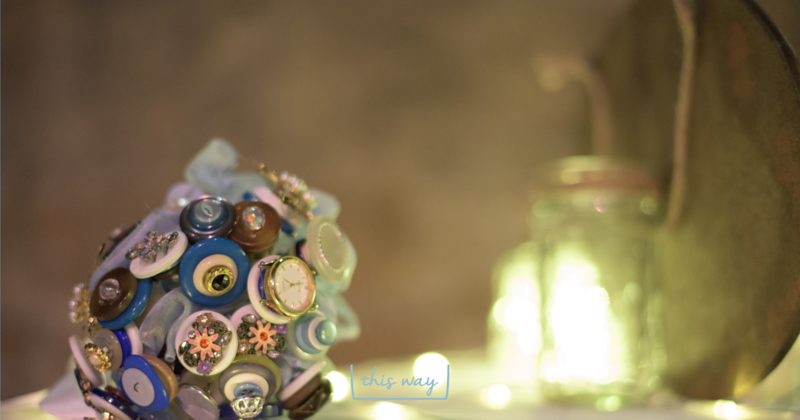 Button bouquet, kilner jar with fairy lights, Cottiers Theatre, Glasgow