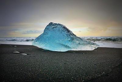 Glacier on Crystal Beach, Iceland