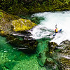 """Christian Woodard demonstrates why kayakers flock to the northwest on the """"Opal Creek"""" section of the Little North Santiam in Oregon."""