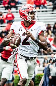 Georgia quarterback D'Wan Mathis (2) looks to throw during the  UGA spring practice game at Sanford Stadium in Athens, GA., on Saturday, April 20, 2019 (Photo: Nicole Seitz)