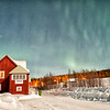 Porjus Station House Under the Aurora