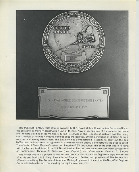 The Peltier Award For Excellence - MCB-10 - 1967