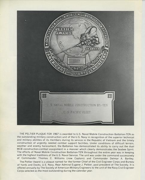 The Peltier Award For Excellence - MCB-10 - 1967